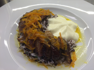GLAZED DUCK BREAST WITH CITRUS SAUCE, WILD RICE AND POTATO MIXTURE